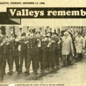 Armistice day commemoration and march at Cwm, November 1986