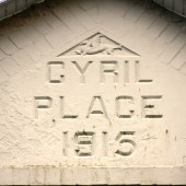 Cyril Place, Abertillery. Notice the small dragon in the triangle immediately above the wording, which represents the Monmouthshire Regiment - Cyril's regiment before he obtained his officer's commission with the South Wales Borderers
