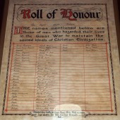 Roll of Honour of men of Siloh's congregation who were killed and also those who served in the armed forces and returned in WW1