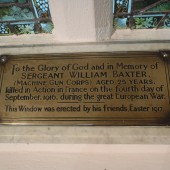 Sergeant William Baxter Memorial Plaque, St James' Church, Tredegar