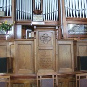 Calvary Baptist Church Organ containing memorial plaques