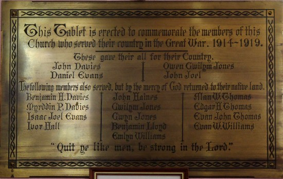 WW1 Memorial Plaque from Penuel Presbyterian Church - now at Siloh Uniting Church, Bridge Street, Tredegar