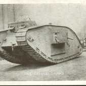 Postcard image of WW1 tank