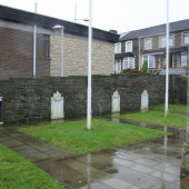 Nebo Baptist Memorial plaques - near left (missing) and far right, 10/11/2015