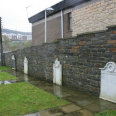 Nebo Baptist Memorial plaques - far left (missing) and near right, 10/11/2015