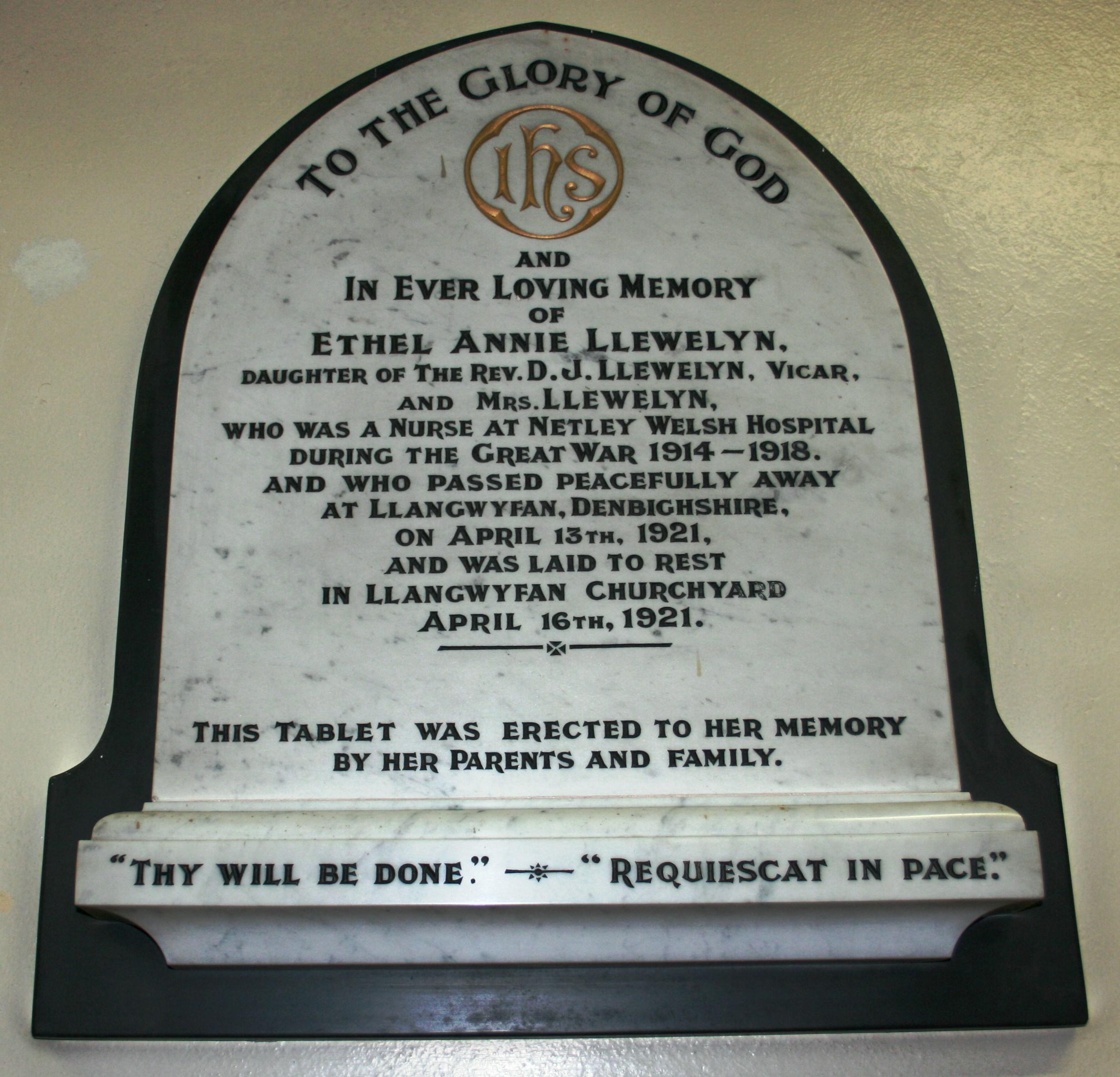Ethel Annie Llewelyn memorial plaque