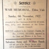 Order of service at Armistice Sunday at Ebbw Vale, 6 Nov 1927