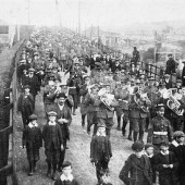 Monmouthshire Regiment (3rd Mons) marching along Beaufort Road towards Ebbw Vale - possibly 5 Aug 1914