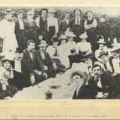 Blaina Cooperative Store staff outing to the Sugarloaf, 1898