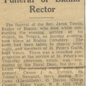 Newspaper cutting re. death of Rev. Jacob Towns in 1936