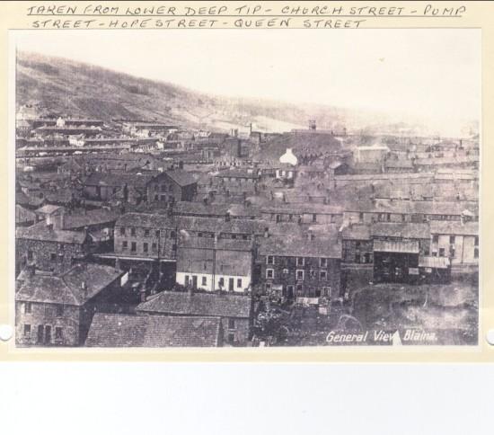 Taken from lower deep pit. Church Street, Pump Street, Hope Street and Queen Street