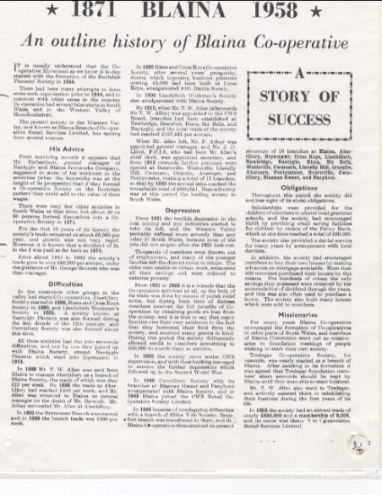 1871 Blaina 1958: An outline history of Blaina Cooperative