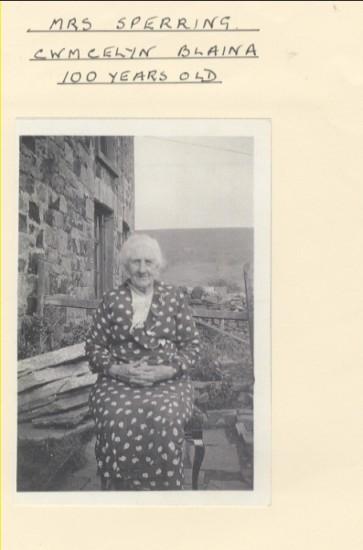 Mrs Sperring, Cwmcelyn, Blaina, aged 100