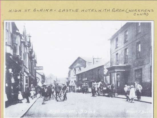 High Street, Blaina with the Castle Hotel (Workman's Hotel) showing the porch
