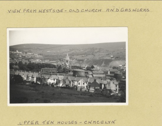 View from West Side of Blaina showing the Gas Works  and  the  old St. Peter's Church