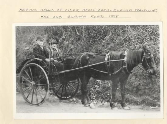 Mr and Mrs Kallis of Cider House Farm, Blaina, travelling the Old Blaina Road