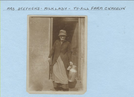 Mrs Stephens, Milk lady, Ty FIll Farm, Cwmcelyn