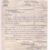 Letter to Mrs Amelia Elliott with regards to her missing son Stanley George Elliott