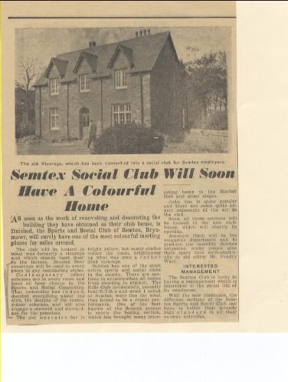 Merthyr Express, 5th March 1960; Semtex Social Club will soon have a colourful home