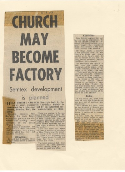 Church may become factory. Semtex. Nantyglo. Crawshay Bailey