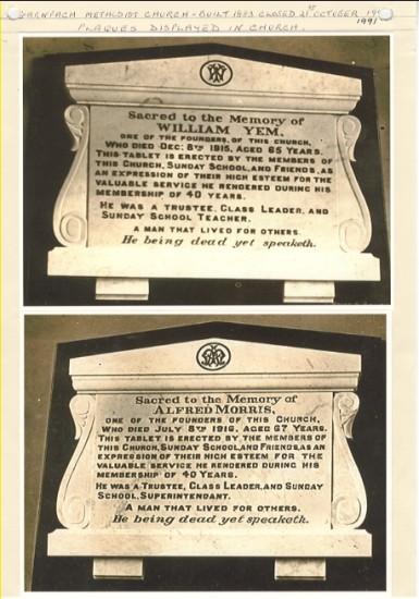 Garnfach Methodist Church ( built 1883, closed 21st October 1991), plaques displayed in church