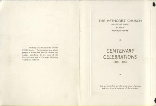 The Methodist Church, Blaina.  Centenary Celebrations 1865 to 1965 (part 1 of 2)
