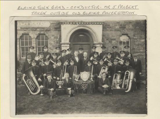Blaina Town Band taken outside of old Blaina Police Station
