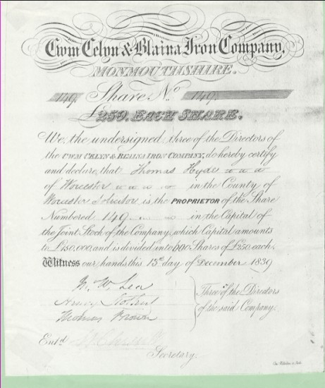 Cwmcelyn and Blaina Iron Company, Share no. 149 (part 1 of 2)