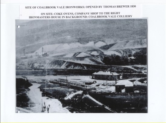 Site of Coalbrook Vale Ironworks: opened by Thomas Brewer in 1830.On site: Coke ovens, company shop to the right, ironmaster's house in background: Coalbrook Vale Colliery