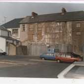 The back of the Council Office, Brynmawr, waiting for it to be rebuilt
