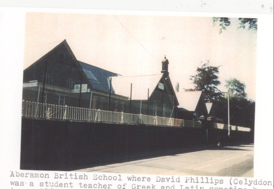Aberamon British School where David Phillips (Celyddon) was a student teacher of Greek and Latin sometime between 1863 and 1873.