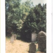 The Phillips stone faces the Church entrance at Ffynon Baptist Church Cemetery. The stone appears white due to the chalk used so that the inscription could be read more easily.