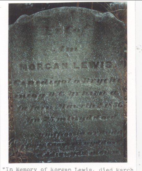 Gravestone at the cemetery on the route between Pottsville And Cumbola,PA. ,  in memory of Morgan Lewis