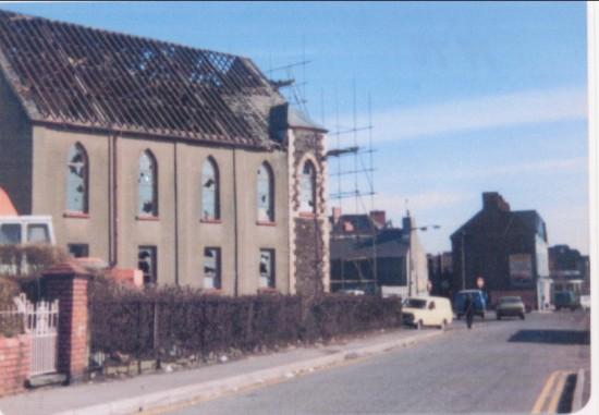 Demolition of Bailey Street Congregational chapel, 1978