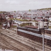 The carriage sidings with Brynmawr in the background.