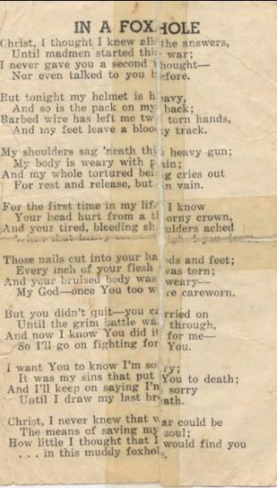 World War II Poem 'In a Fox Hole'