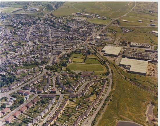 Brynmawr from the air, 1970s.