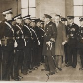 Ambulance members inspection by Surgeon Commander R.J.G.Pamue R.N.