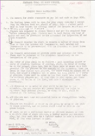 Regulations for Brynmawr Bowling Club
