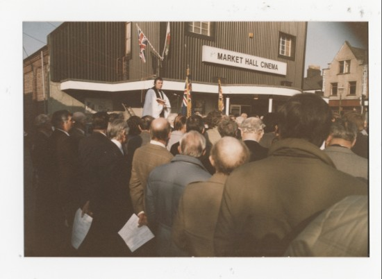 V.E Day memorial on the Market Square, Brynmawr, in 1985, 40 years on