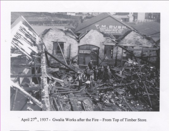 Gwalia Works after the fire, view from the top of the timber store