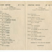 Programme for the induction service of Rev. F.R. Smith