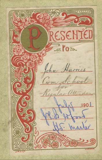 Book presented to Amos John Harris