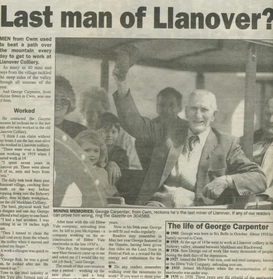 Newspaper cutting re. Mr George Carpenter