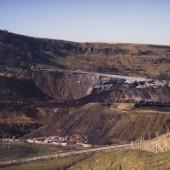 Slag Tips in 1986 being demolished in preparation for Garden Festival Wales 1992.