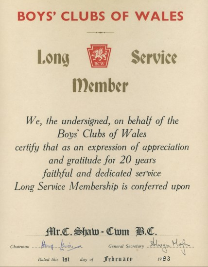 Boys Club Certificate