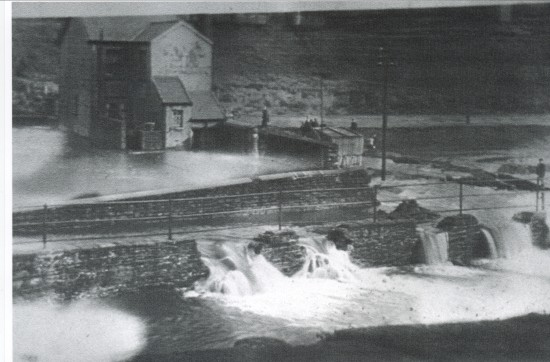 Dyffryn School Caretakers House, flooding viewed from the Marine Colliery Tip