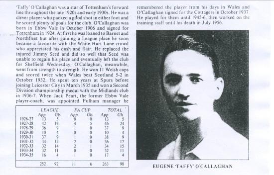 Eugene O'Callaghan Football Record.