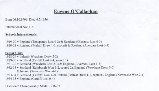 Eugene O'Callaghan International Appearances.