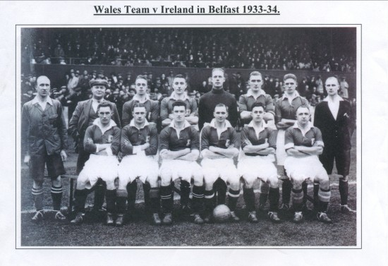 Wales Football Team in Belfast 1933.Wales 1 Ireland 1.